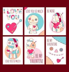 Set of valentines day banners with cute voodoo vector