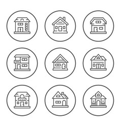 set round line icons of houses vector image