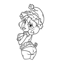 Sexy piggy girl in santa hat and mittens vector