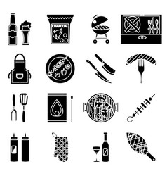silhouette barbecue grill cooking meat steak vector image