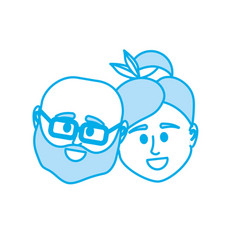 silhouette couple head together with hairstyle vector image