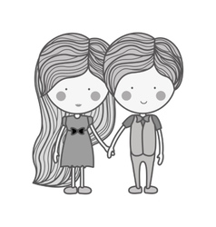 Silhouette couple holding hands with clothes vector
