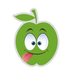 Silly tongue out apple cartoon icon vector