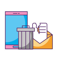 smartphone trash can broken email data vector image