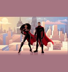 superhero couple black city day vector image