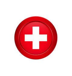 swiss flag on the round button vector image