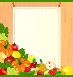 Thanksgiving menu Paper with fruits and vegetables vector image