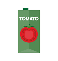 Tomato juice package isolated cardboard box for vector
