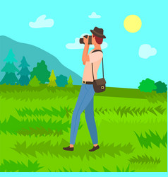 Tourist in hat with photo camera man photographer vector