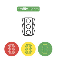 traffic lights outline icons set vector image