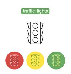 Traffic lights outline icons set vector