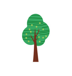 Tree forest green color stylized cute style vector