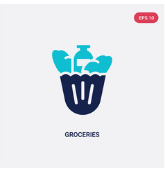 Two color groceries icon from fast food concept vector