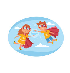 two young kids pretending to be super heroes vector image