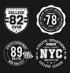 vintage badges set athletic sport typography for vector image