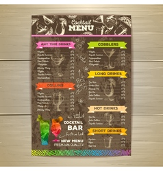 Vintage cocktail menu design Document template vector image
