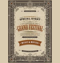 Vintage retro festival poster background vector