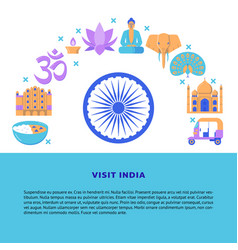 visit india concept banner in flat style vector image