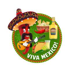 Viva mexico chilli pepper with mexican sombrero vector