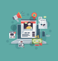 web blogging monitor with content marketing vector image