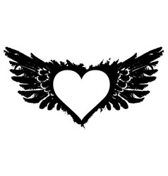 White abstract flying heart with black wings vector