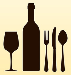Wine Bottle and Cutlery vector