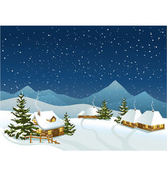 winter rural landscape with mountains vector image