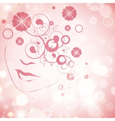 Woman Face With Floral Decoration vector image