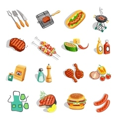 Barbecue Food Accessories Flat Icons Set vector image vector image