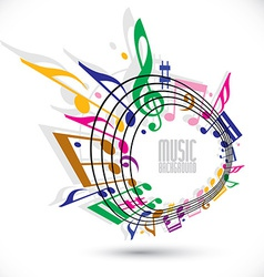 Colorful music background with clef and notes vector image