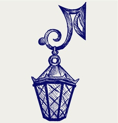 Lantern from the forged metal vector image