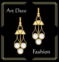 luxury art deco filigree earrings jewel with rare vector image vector image