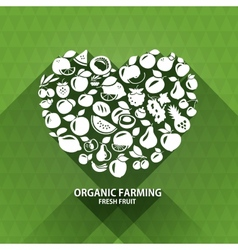 Organic food icons Heart shape with organic vector image vector image