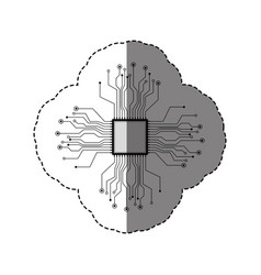 Sticker silhouette circuit board and chip vector