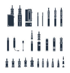 vecor set of vape related simple icons rda vector image