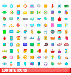 100 site icons set cartoon style vector image