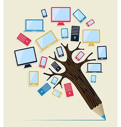 Gadget devices concept pencil tree vector image vector image