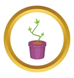 Marijuana in flower pot icon vector