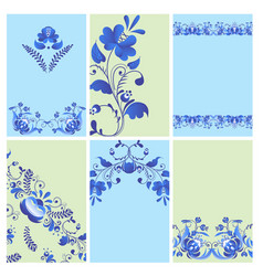 Russian ornaments art gzhel style painted brochure vector
