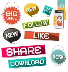 Social Media Paper Symbols Set with Share - vector image