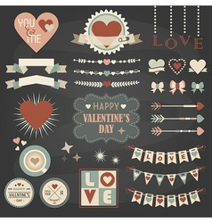 Valentines Day design and decoration elements set vector image