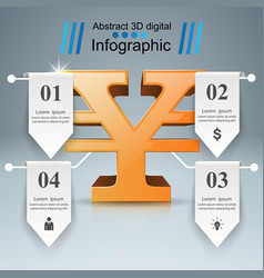 3d infographic yen money icon vector image