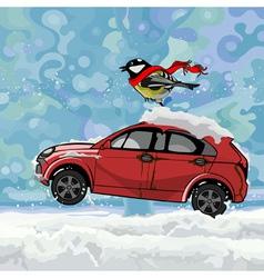Cartoon bird fluttering scarf sitting on a car vector