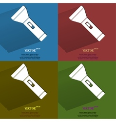 Color set Flashlight Flat modern web button with vector image
