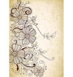 drawing vintage flowers vector image vector image