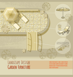 garden design lounge chairs bridge umbrella vector image
