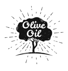 Olive label logo design olive tree vector