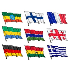 set of national flags vector image