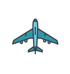 airplane above view flat line vector image
