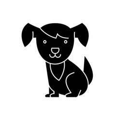 dog cute icon black sign on vector image